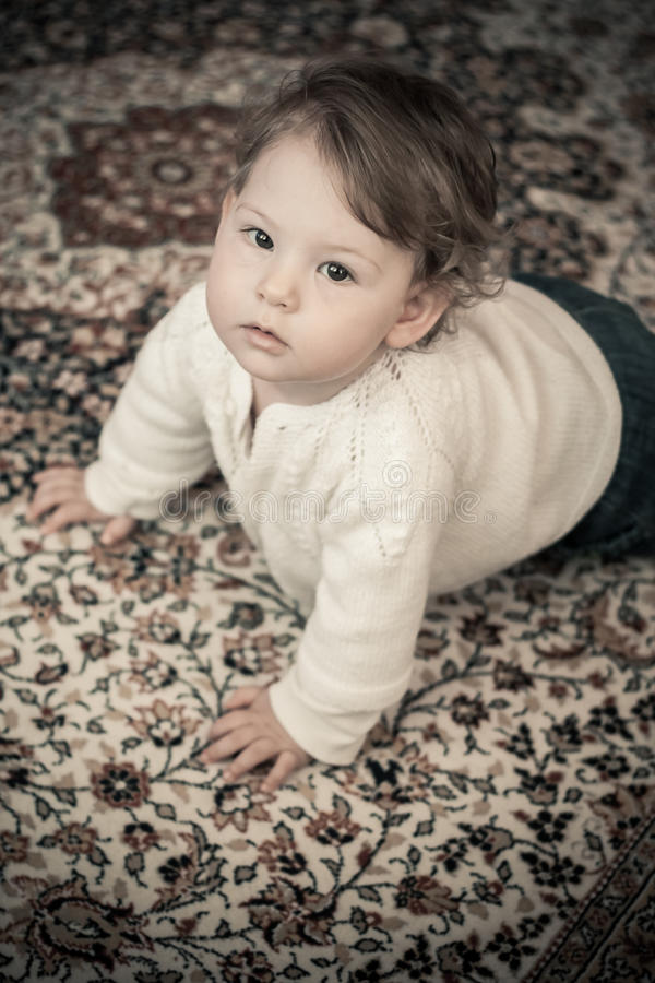 Download Happy Baby Girl At Home Crawling Stock Photo - Image: 29011490