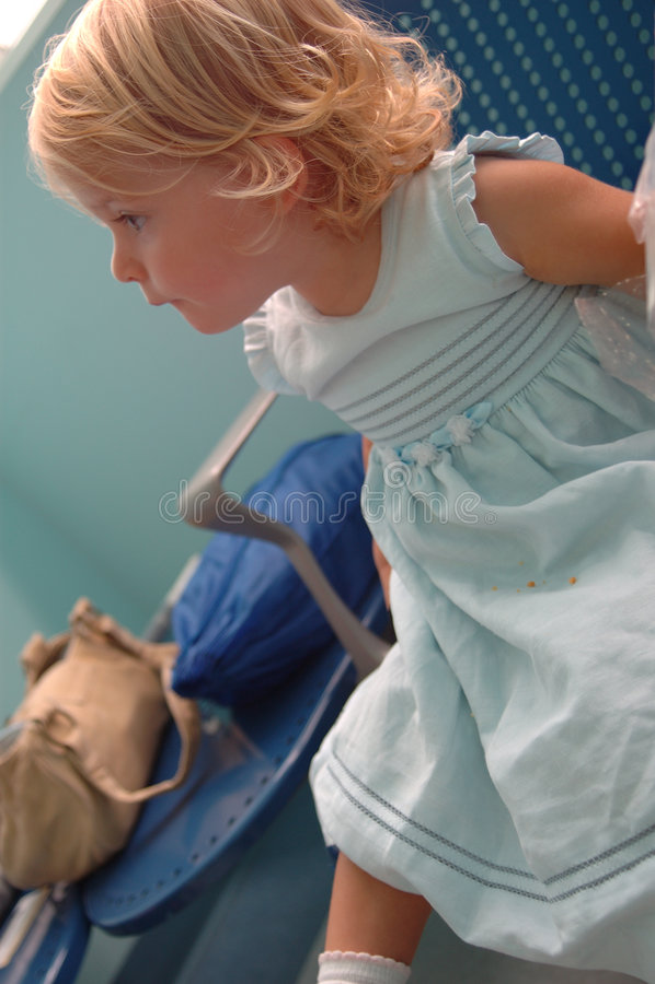 Happy baby girl in hospital stock photo