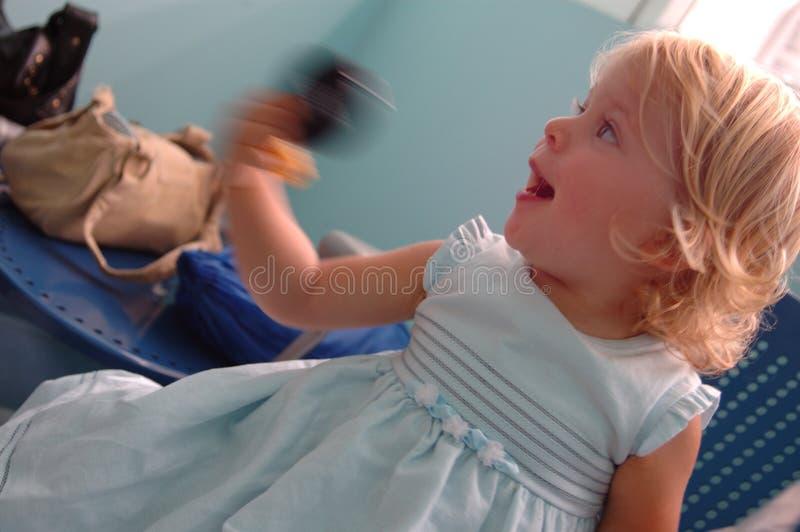 Happy baby girl in hospital stock photos