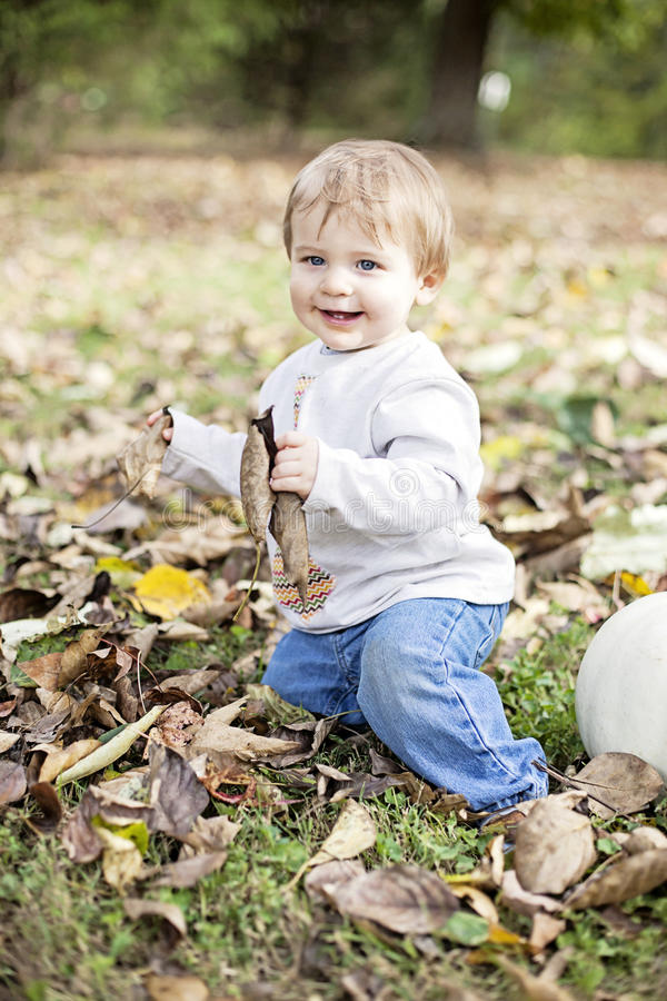 Happy baby in nature royalty free stock image