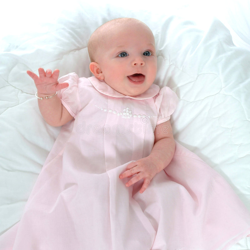 Happy Baby in Pink stock photo