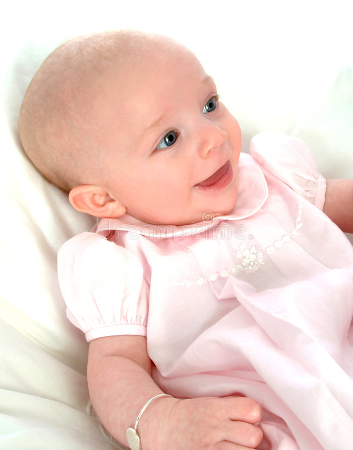 Happy Baby in Pink Dress royalty free stock images