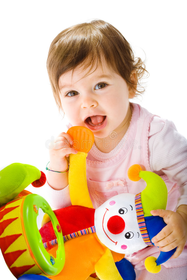 Happy baby playing royalty free stock photo
