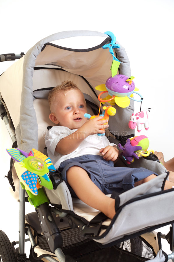 Download Happy baby in stroller stock image. Image of lovely, child - 2932977