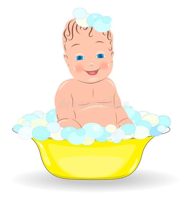 Happy baby taking bath playing with foam bubbles, illustration.  vector illustration