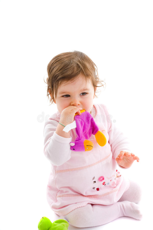 Happy baby teething royalty free stock images