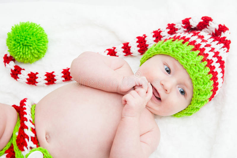 Happy Baby Wearing Cute Knit Hat Royalty Free Stock Image