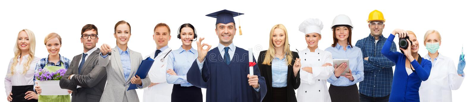 Happy bachelor with diploma over professionals stock photography