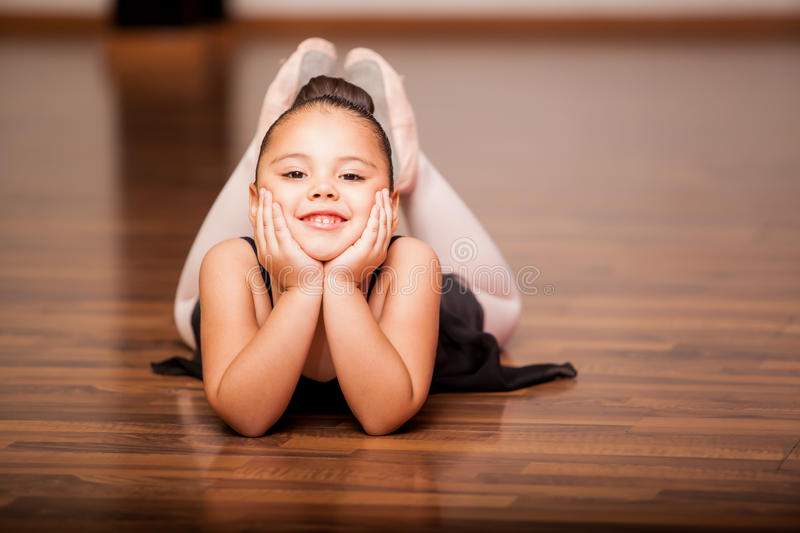 Happy ballerina during a class royalty free stock images