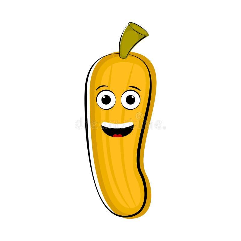 Happy banana cartoon character emote vector illustration