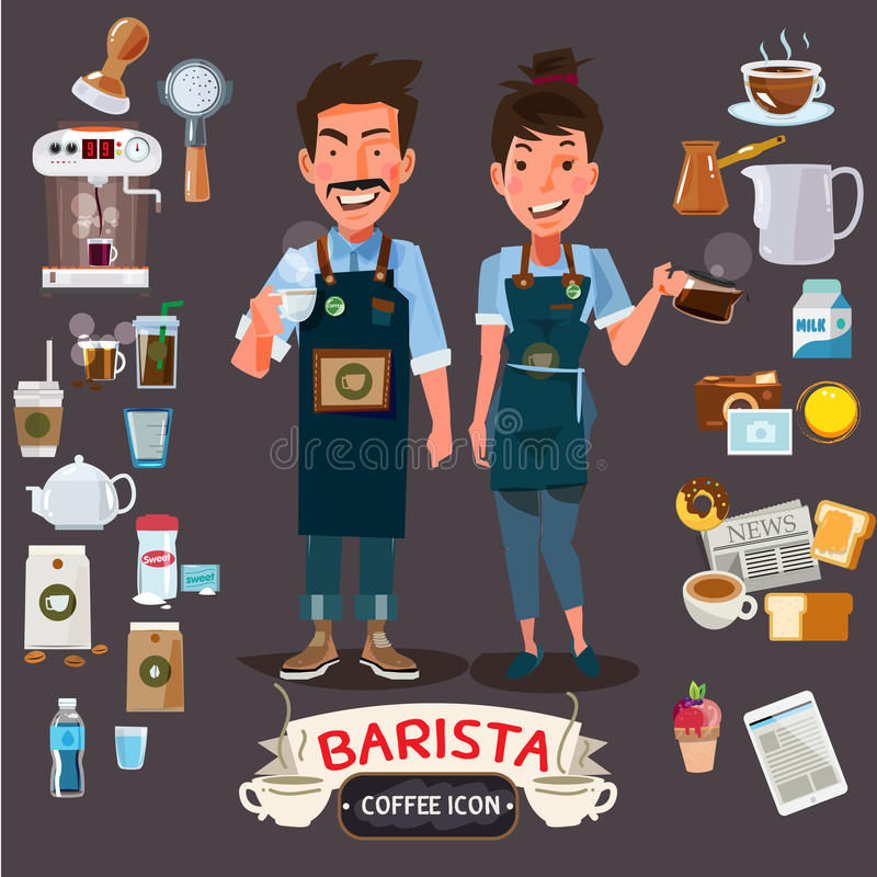 Happy barista man and women holding cup and jug. stock illustration