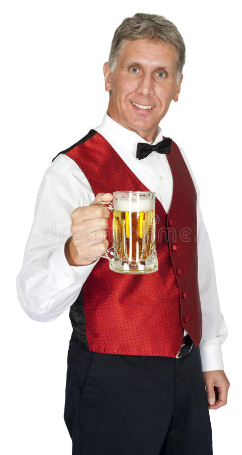 Happy Bartender Serving Beer Isolated royalty free stock image