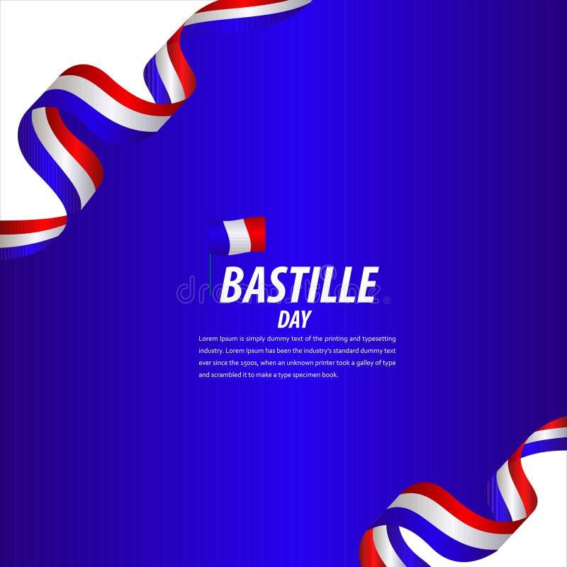 Happy Bastille Day Celebration, Poster, Ribbon banner vector template design illustration. French, national, france, july, tower, background, flag, eiffel royalty free illustration