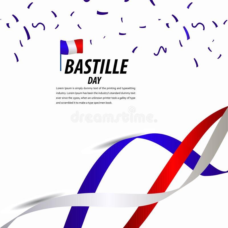 Happy Bastille Day Celebration, Poster, Ribbon banner vector template design illustration. French, national, france, july, tower, background, flag, eiffel vector illustration