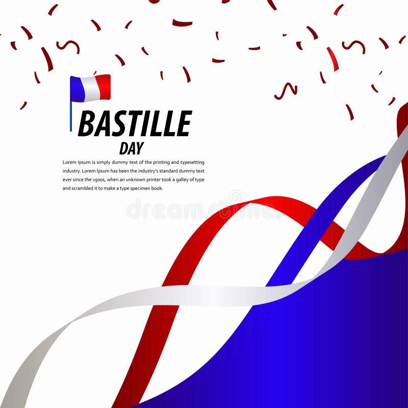 Happy Bastille Day Celebration, Poster, Ribbon banner vector template design illustration. French, national, france, july, tower, background, flag, eiffel stock illustration
