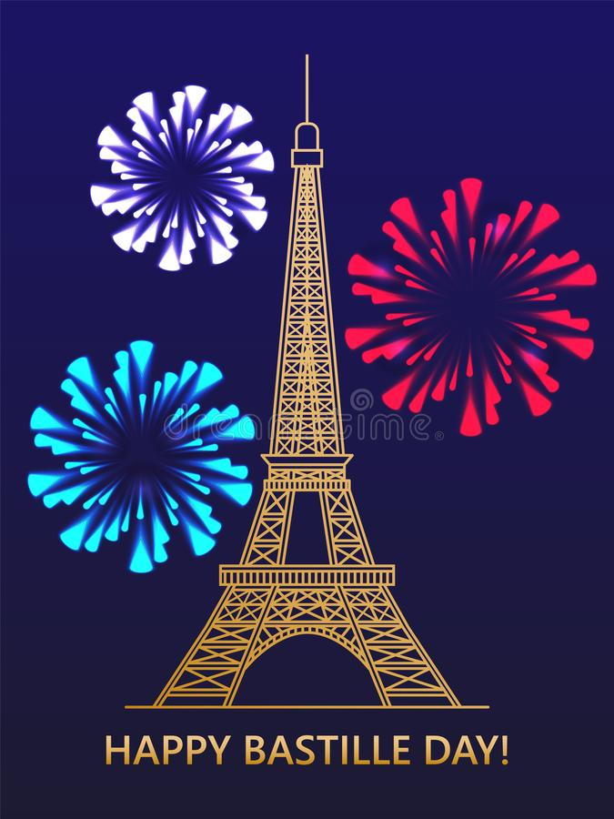 Happy Bastille day. Eiffel tower fireworks on the background of the flag of France. Greeting card. vector illustration stock illustration