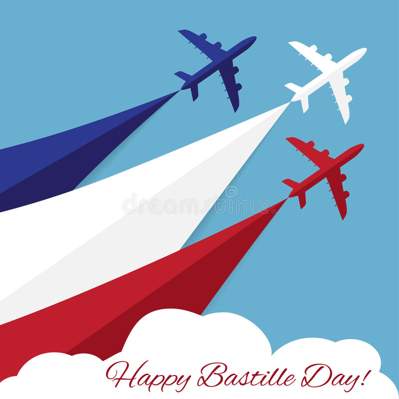 Happy Bastille Day. Independence Day of France. Vector poster with airplanes 14th July Bastille Day. Independence Day of France vector illustration