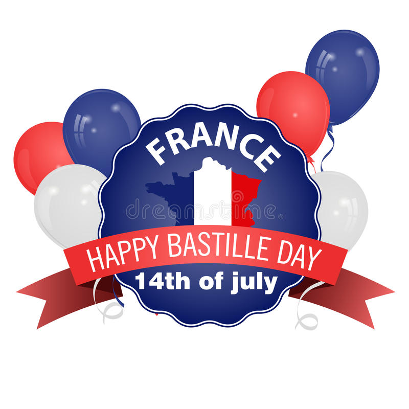 Happy Bastille Day poster in vintage style. Happy Bastille Day, July 14. Viva France`s national day. Vector Illustration. Balloons. Suitable for the design of stock illustration