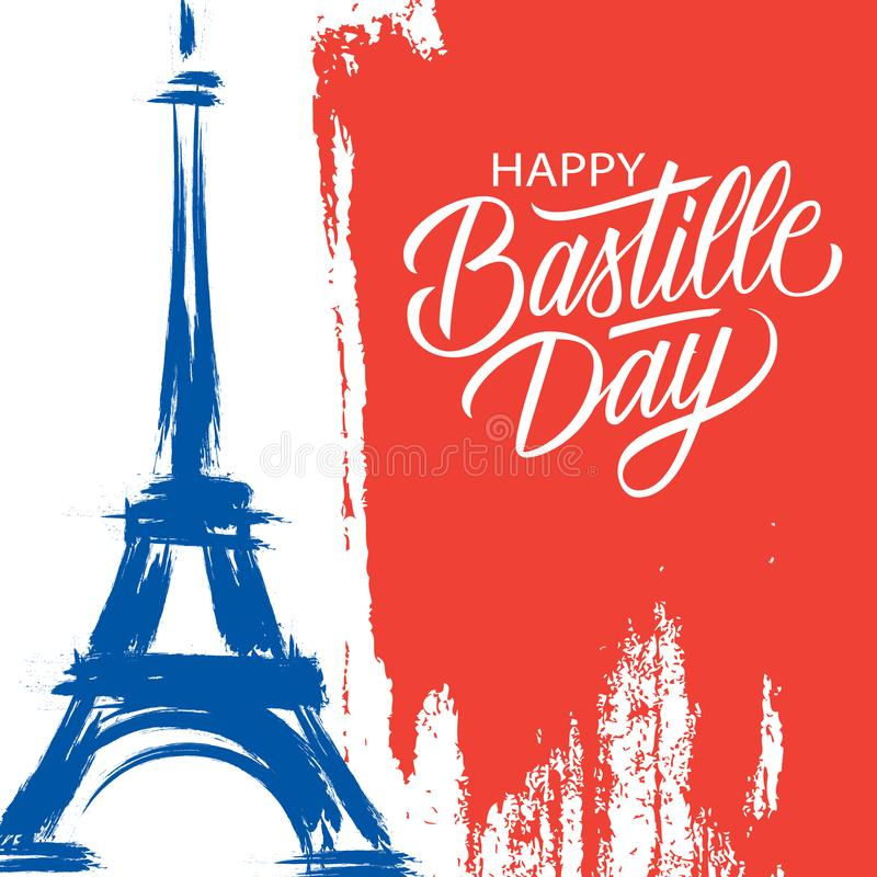Happy Bastille Day, 14th of July brush stroke holiday greeting card in colors of the national flag of France with Eiffel tower. vector illustration