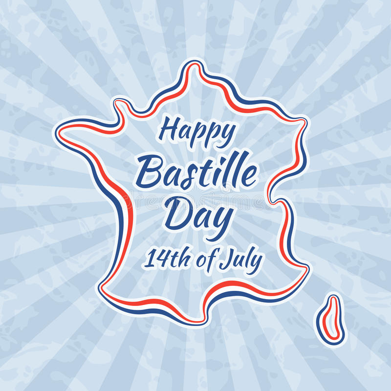 Happy Bastille Day and 14th July. Greeting card for French National Day. Retro with vintage background stock illustration