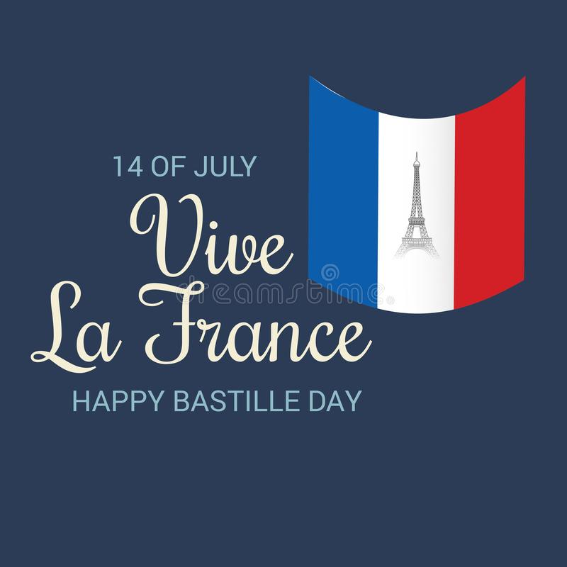 Happy Bastille Day. 14 th of July. Illustration of a Banner for 14 th of July. Happy Bastille Day. Text Space Background royalty free illustration