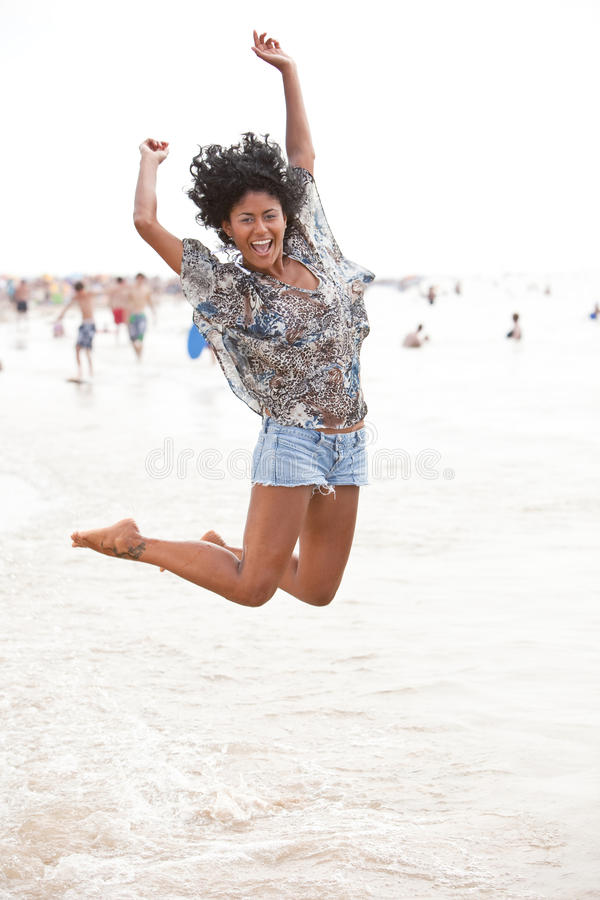 Happy at the beach royalty free stock image
