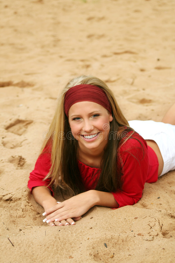Happy on a beach royalty free stock images
