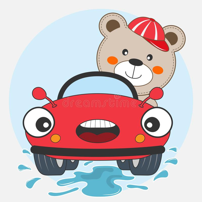 Happy bear boy driving red car. Vector illustration. royalty free stock image