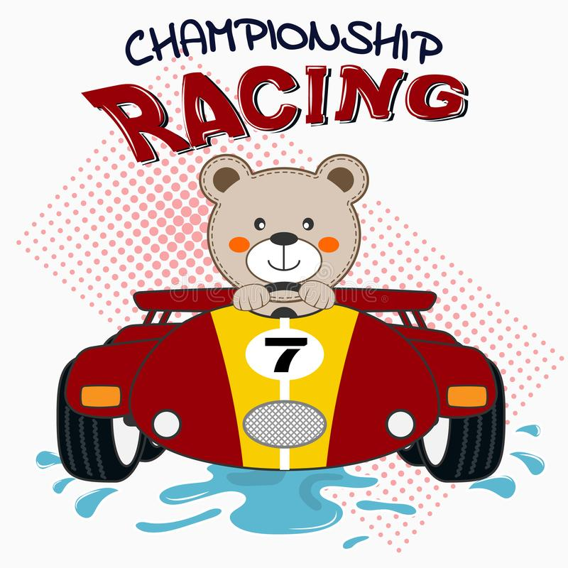Happy bear driving red sport car. Vector illustration royalty free stock photography