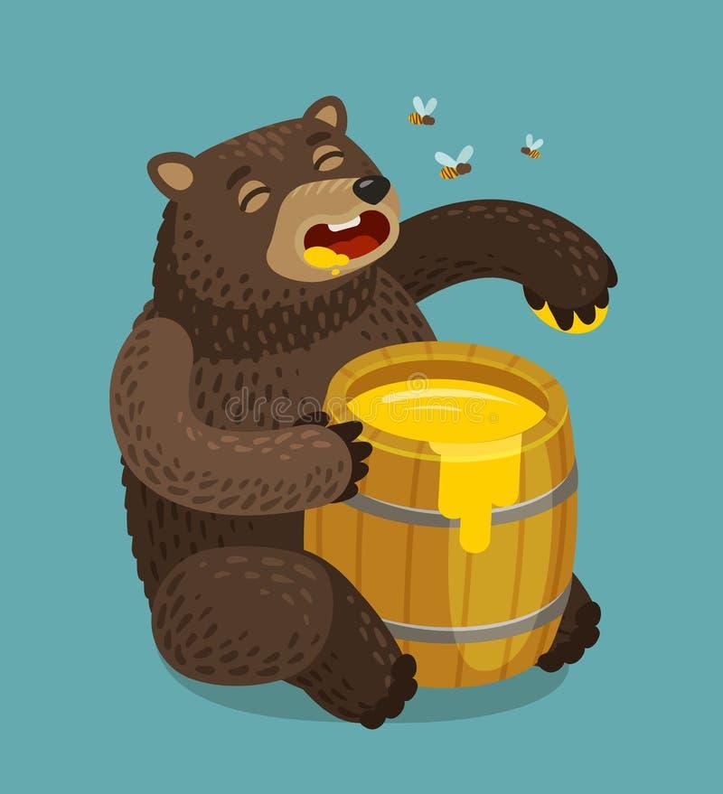 Happy bear eats out of keg of sweet honey. Cartoon vector illustration stock illustration