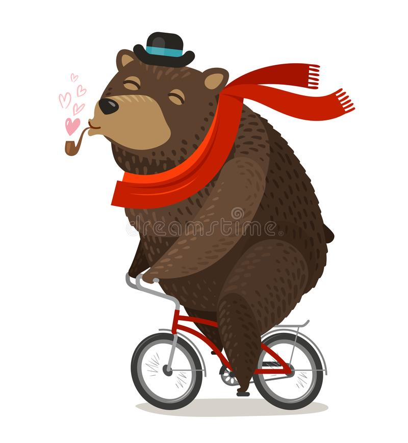Happy bear riding bike. Pleasure trip concept. Cartoon vector illustration royalty free illustration