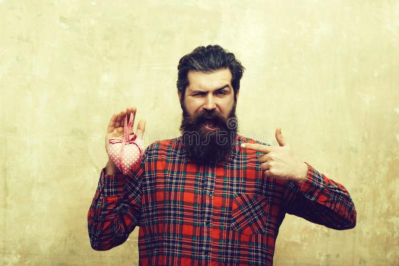 Happy bearded man with beard holds rosy textile heart royalty free stock images