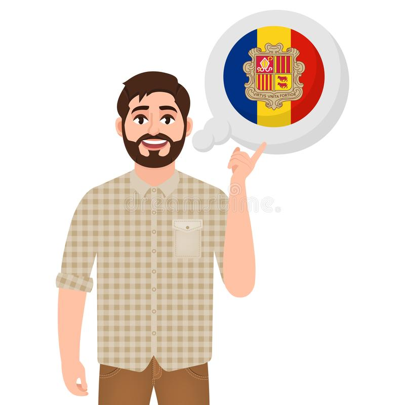 Happy bearded man says or thinks about the country Andorra, European country icon, traveler or tourist vector illustration