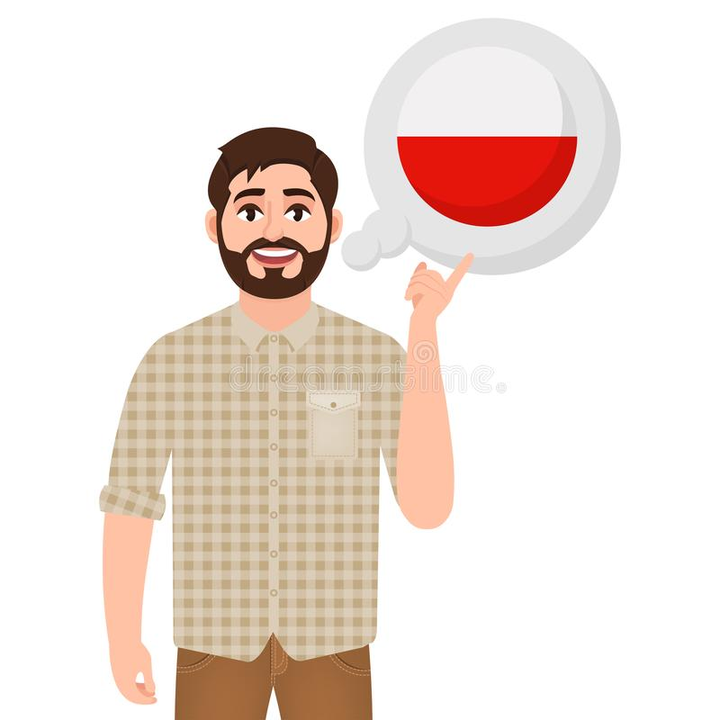 Happy bearded man says or thinks about the country of Poland, European country icon, traveler or tourist vector illustration