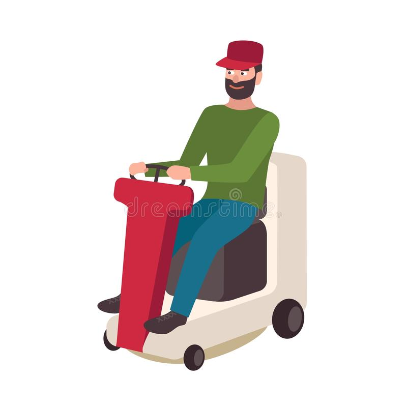 Free Happy Bearded Man Sitting On Lawn Mower Isolated On White Background. Smiling Male Cartoon Character Riding Electric Stock Photography - 110293212