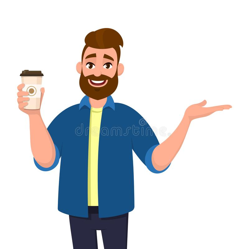 Happy bearded trendy man holding a coffee cup and pointing, showing or presenting hand palm to copy space side away. stock illustration