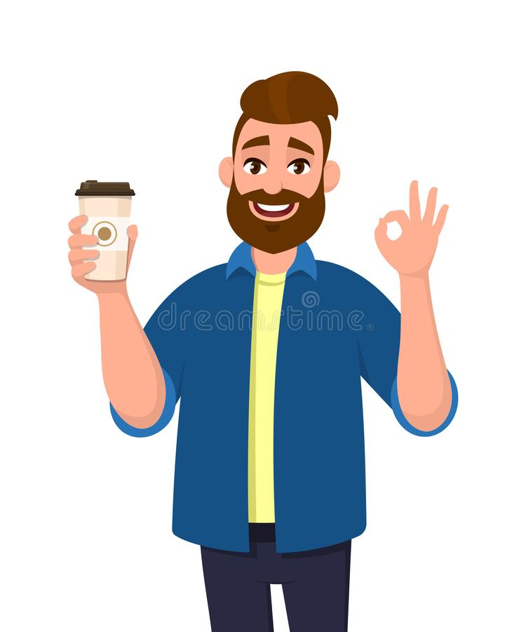 Happy bearded trendy man holding a coffee cup and showing, gesturing or making okay, OK sign with hand fingers. Male character. stock illustration