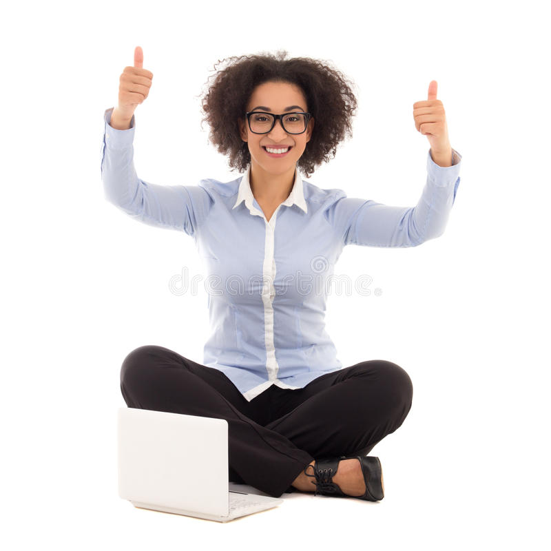 Happy beautiful african american business woman sitting with lap stock photography