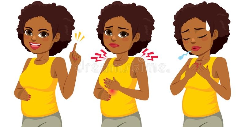 Black Woman Pregnancy Symptoms. Happy beautiful afro black pregnant woman in three different actions pointing hand burning discomfort and difficulty breathing royalty free illustration