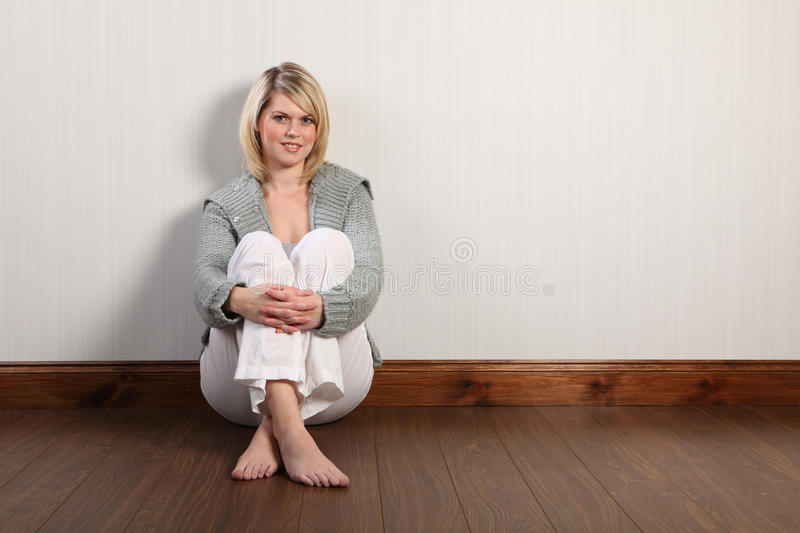 Download Happy Beautiful Blonde Woman In Knitted Cardigan Stock Photo - Image of person, home: 20396796