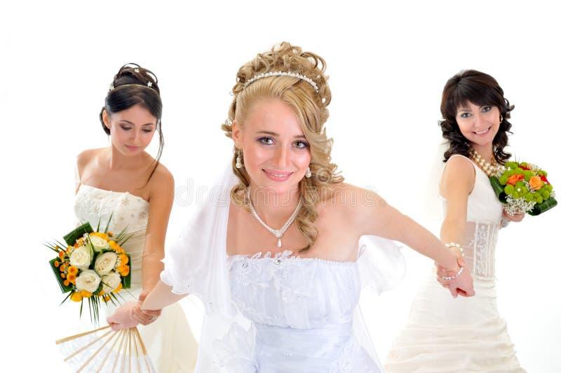 Happy Beautiful Brides Stock Image