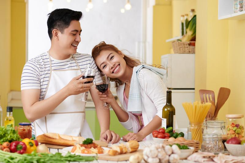 Cheerful cooking couple stock photography