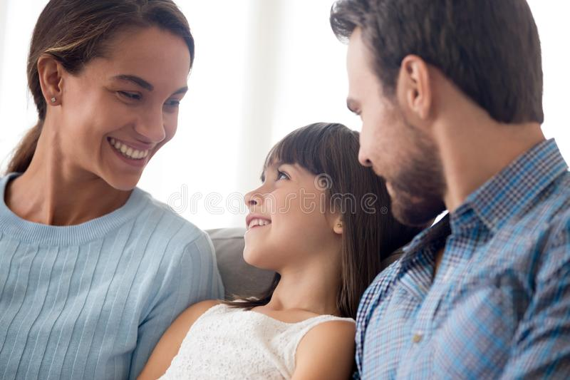 Happy beautiful diverse family together at home royalty free stock photo