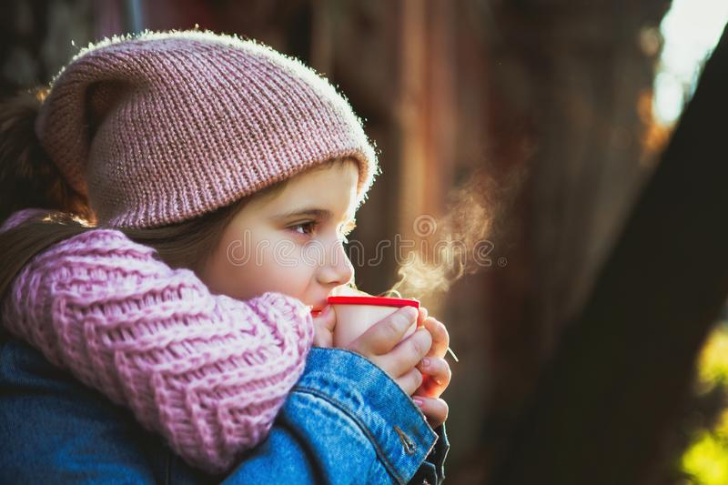 Girl drinking hot tea from the thermos. Happy beautiful girl drinking hot tea from the thermos near the village house stock photo