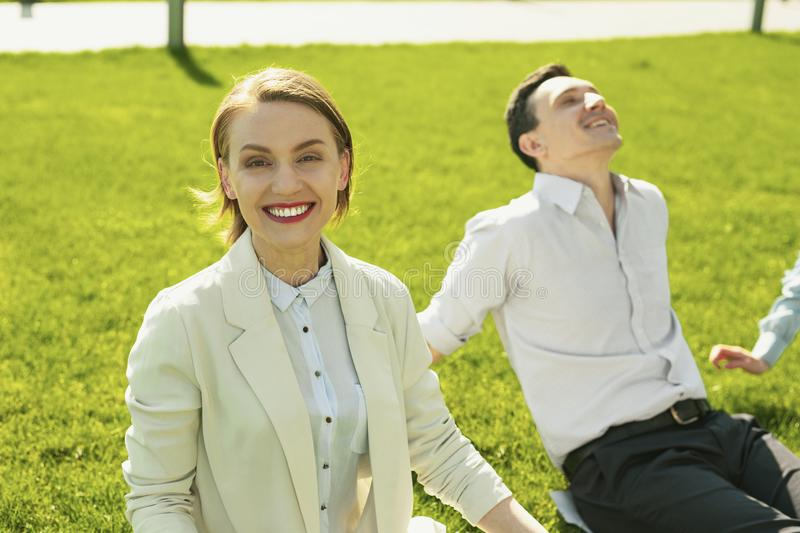 Happy beautiful girl smiling when feeling good stock images
