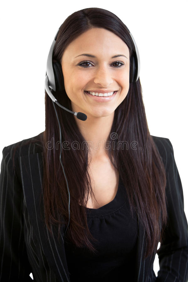 Happy beautiful hispanic business female telemarketer stock images