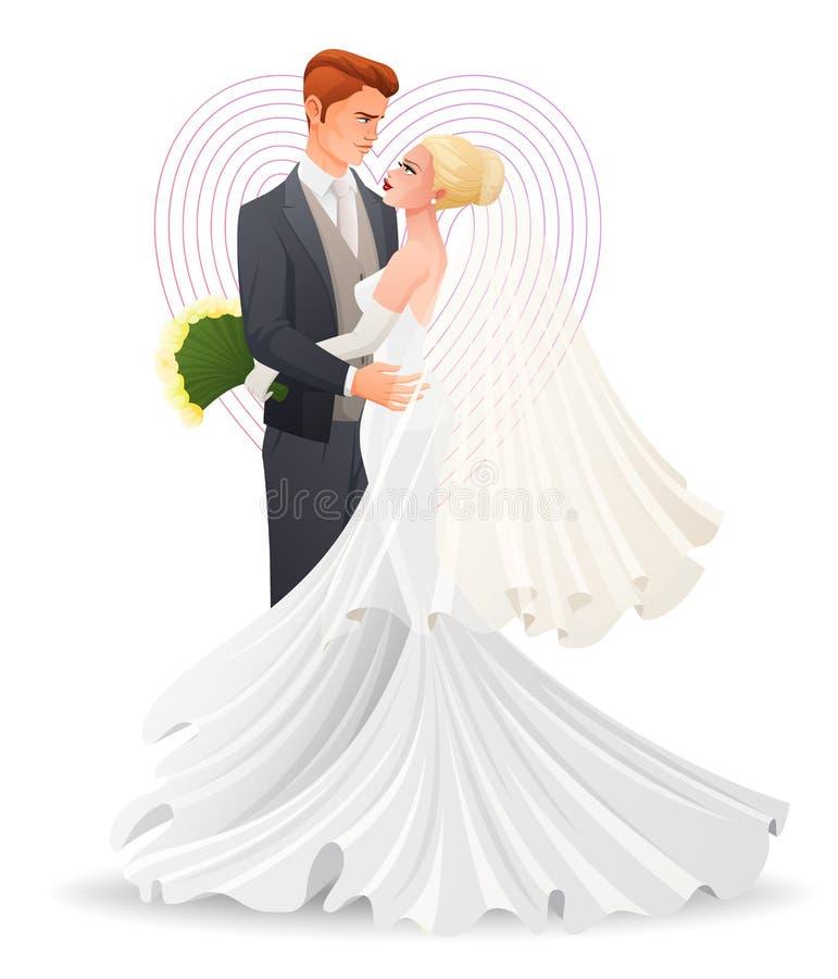 Happy beautiful hugging couple in love. Traditional wedding cartoon vector illustration. stock illustration