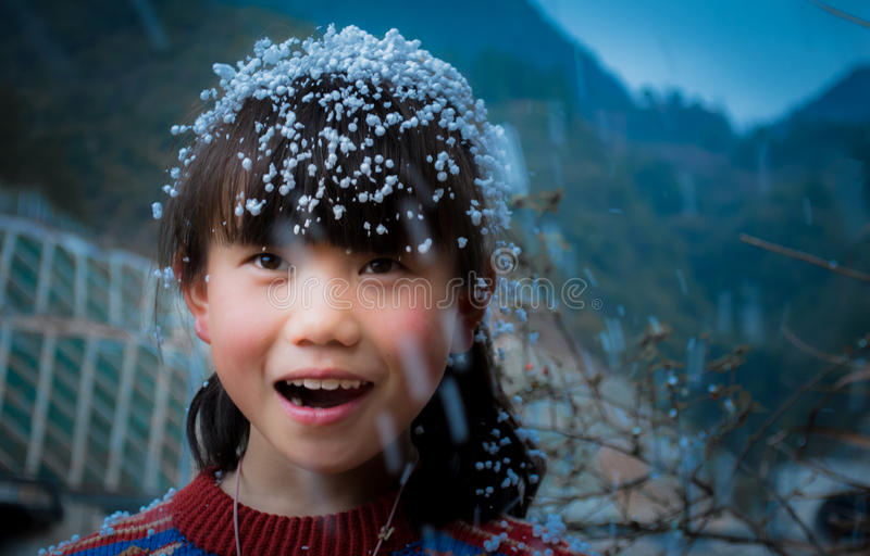 Happy funny asian child face stock image