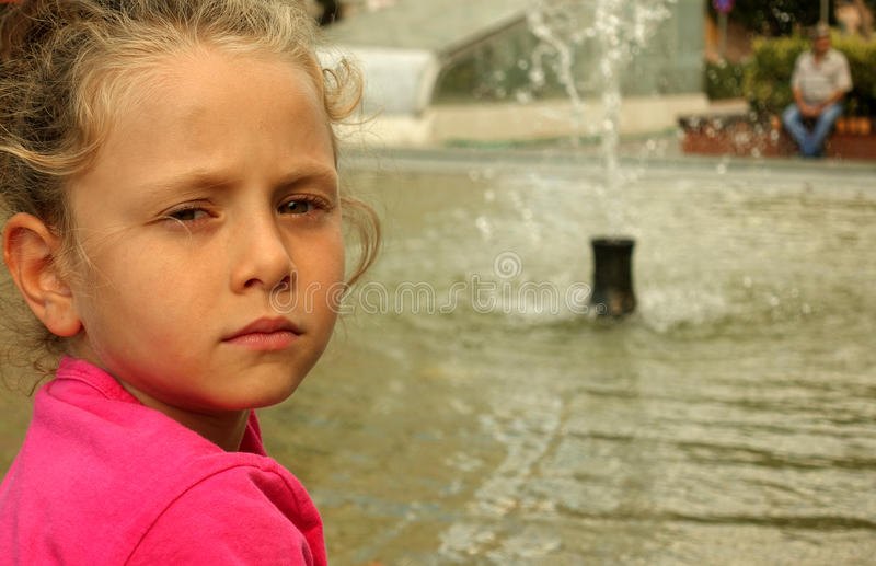 Happy beautiful little girl portrait outdoors stock images