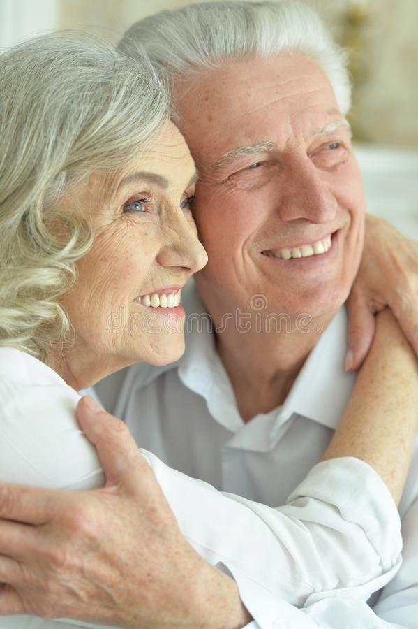 Portrait of happy beautiful senior couple posing at home royalty free stock photos